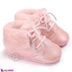 بوت گرم نوزاد و کودک خزدار صورتی استپ دار Baby warm footwear