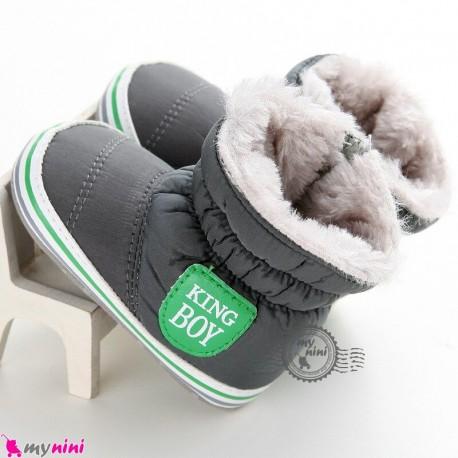بوت گرم نوزاد و کودک خزدار طوسی استپ دار Baby warm footwear