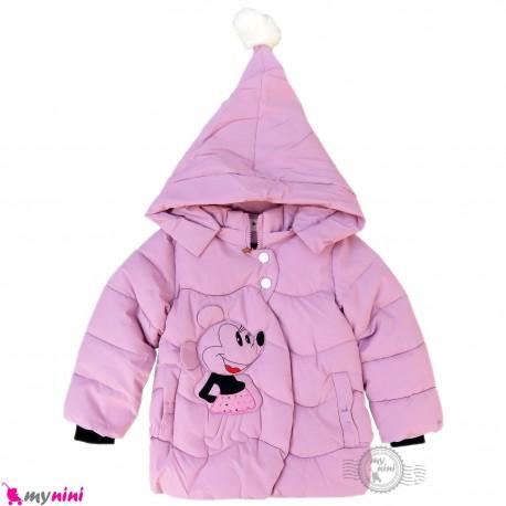 کاپشن بچه گانه گرم کلاه دار صورتی میکی موس Baby warm jacket