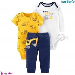 3 تکه کارترز اورجینال 2 عدد بادی و شلوار طرح بیل مکانیکی Carter's kids clothes set