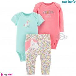3 تکه کارترز اورجینال 2 عدد بادی و شلوار طرح یونی کورن Carter's kids clothes set