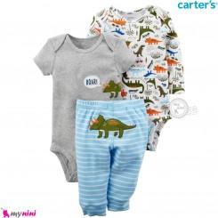 3 تکه کارترز اورجینال 2 عدد بادی و شلوار طرح دایناسور Carter's kids clothes set