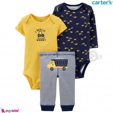 3 تکه کارترز اورجینال 2 عدد بادی و شلوار طرح راه سازی Carter's kids clothes set