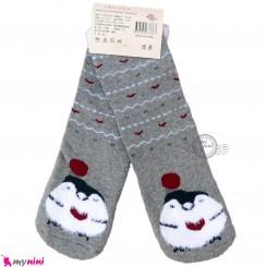 جوراب حوله ای بچگانه ساق بلند کشی زمینه طوسی 2 تا 5 سال baby warm socks