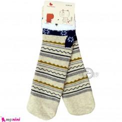 جوراب حوله ای بچگانه ساق بلند کشی زمینه کرمی 2 تا 5 سال baby warm socks