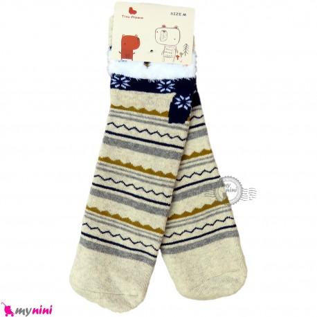جوراب حوله ای بچگانه ساق بلند کشی زمینه کرمی 2 تا 5 سال Gerboo baby warm socks