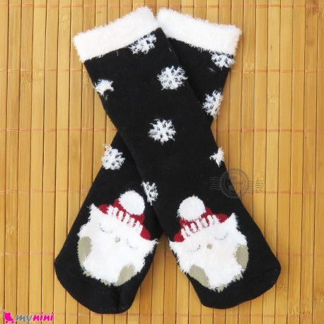 جوراب حوله ای بچگانه ساق بلند کشی زمینه مشکی 2 تا 5 سال baby warm socks