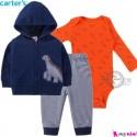 3 تکه کارترز اورجینال پسرانه سویشرت سرمه ای دایناسور Carter's baby boy hooded cardigan set