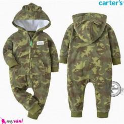 سرهمی گرم مخمل کلاهدار مارک کارترز اورجینال چریکی سبز carter's baby hooded jumpsuits