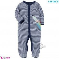 سرهمی کارترز اورجینال پنبه ای سرمه ای راه راه شاتل فضایی carter's pajamas