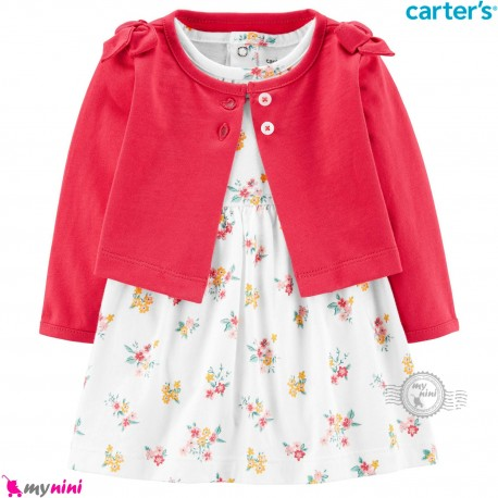 ست 2 تکه کت و سارافون کارترز اورجینال سرخابی سرشانه پاپیونی Carter's Baby Girls Dress Set