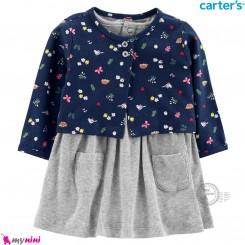 ست 2 تکه کت و سارافون کارترز اورجینال طوسی مخمل کبریتی Carter's Baby Girls Dress Set