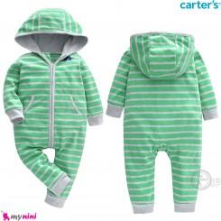 سرهمی گرم مخمل کلاهدار مارک کارترز اورجینال سبز طوسی راه راه carter's baby hooded jumpsuits