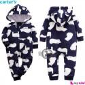 سرهمی گرم مخمل کلاهدار مارک کارترز اورجینال سرمه ای خرس قطبی carter's baby hooded jumpsuits