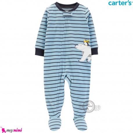 سرهمی گرم کارترز مخملی اورجینال آبی راه راه خرس قطبی Carters baby fleece pajamas