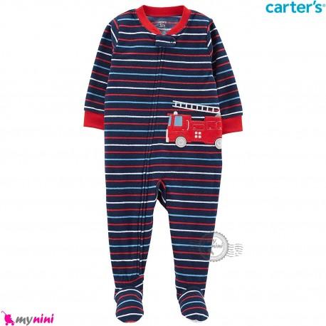 سرهمی گرم کارترز مخملی اورجینال سرمه ای قرمز راه راه آتش نشانی Carters baby fleece pajamas