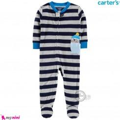 سرهمی گرم کارترز مخملی اورجینال طوسی سرمه ای شیردریایی Carters baby fleece pajamas