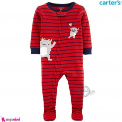 سرهمی گرم کارترز مخملی اورجینال قرمز راه راه غول Carters baby fleece pajamas