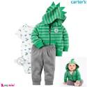 3 تکه کارترز اورجینال پسرانه سویشرت دایناسور سبز Carter's baby boy hooded cardigan set