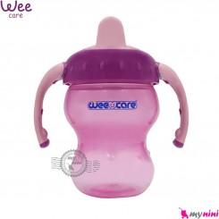 لیوان ضد چکه آموزشی مارک وی رنگ صورتی سوپاپ دار wee care trainig cup
