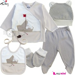 ست لباس بیمارستانی نوزاد 5 تکه 0 تا 3 ماه نخی ترکیه نسکافه ای خرس و قایق Turkish Gaye bebe baby clothes set