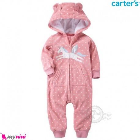 سرهمی گرم مخمل کلاهدار مارک کارترز اورجینال صورتی خالدار یونی کورن carter's baby hooded jumpsuits
