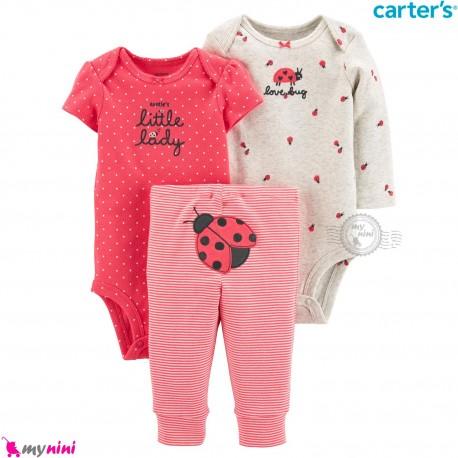 لباس کارترز 3 تکه اورجینال 2 عدد بادی و شلوار کفشدوزک Carter's kids clothes set
