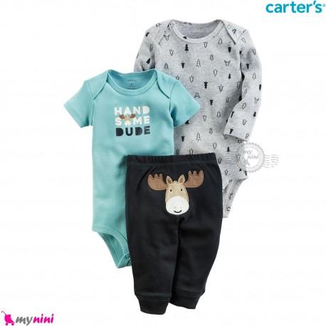 لباس کارترز 3 تکه اورجینال 2 عدد بادی و شلوار گوزن Carter's kids clothes set