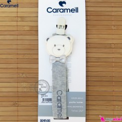 بند پستانک کارامل راه راه کبریتی طوسی ترکیه Caramell baby pacifier holder