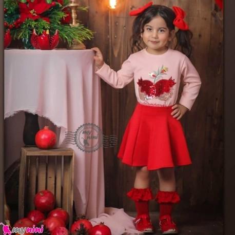 ست بلوز و دامن دخترانه انار رنگ بلوز صورتی baby girl clothes set