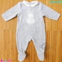 سرهمی گرم نوزاد و کودک مخمل طوسی خرگوش مارک اورجینال اُبیبی  Obaibi baby fleece pajamas