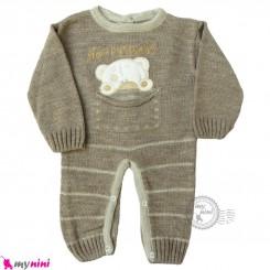 سرهمی بافتنی نوزاد نسکافه ای خرس Baby knitted warm sleepsuits