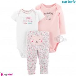 لباس کارترز 3 تکه اورجینال 2 عدد بادی و شلوار صورتی خرس Carter's kids clothes set