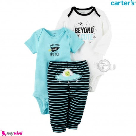لباس کارترز 3 تکه اورجینال 2 عدد بادی و شلوار فضایی Carter's kids clothes set