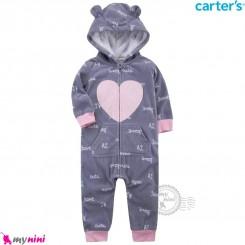 سرهمی گرم مخمل کلاهدار مارک کارترز اورجینال طوسی صورتی قلب carter's baby hooded jumpsuits