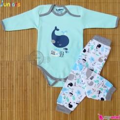 ست بلوز آستین بلند زیردکمه و شلوار نخ پنبه ای آبی نهنگ مارک جونیورز Baby clothes set