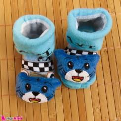 جوراب نوزاد عروسکی آبی گربه Baby cartoon socks