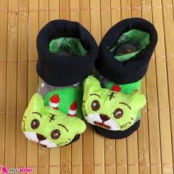 جوراب نوزاد عروسکی سبز سرمه ای گربه Baby cartoon socks