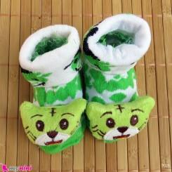 جوراب نوزاد عروسکی سبز و سفید گربه Baby cartoon socks