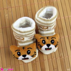 جوراب نوزاد عروسکی نسکافه ای گربه Baby cartoon socks