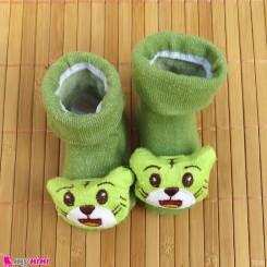 جوراب نوزاد عروسکی سبز گربه Baby cartoon socks