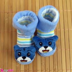 جوراب نوزاد عروسکی آبی راه راه گربه Baby cartoon socks