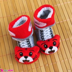 جوراب نوزاد عروسکی قرمز طوسی گربه Baby cartoon socks