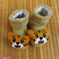 جوراب عروسکی بچگانه خالدار طوسی سگ Baby cute socks