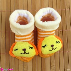 جوراب عروسکی بچگانه راه راه طوسی سگ Baby cute socks