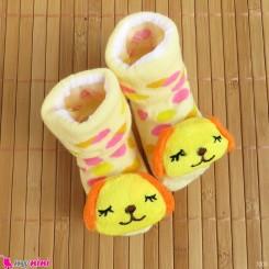 جوراب عروسکی بچگانه راه راه صورتی سیب Baby cute socks