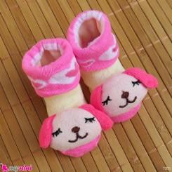 جوراب نوزاد عروسکی صورتی سگ Baby cartoon socks