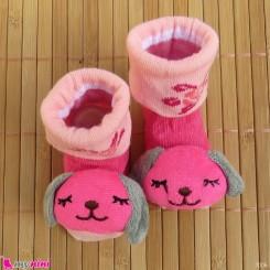 جوراب نوزاد عروسکی سرخابی صورتی سگ Baby cartoon socks