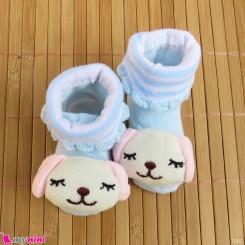 جوراب نوزاد عروسکی شیری آبی سگ Baby cartoon socks