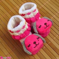 جوراب نوزاد عروسکی سرخابی شیری سگ Baby cartoon socks